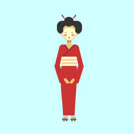 Japanese Geisha In Kimono Traditional Woman Dress Flat Vector Illustration
