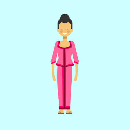 Asian Woman In Traditional Dress Vietnamese Female Costume Flat Vector Illustration