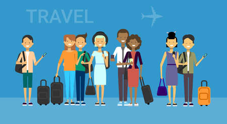 Group of tourists with bags travel on air mix race travelers men and women over blue background with airplane flat vector illustration.