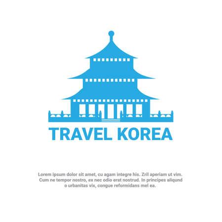 South Korean Palace Icon Travel To Korea Poster Seoul Landmark Sou Symbol Vector Illustration.