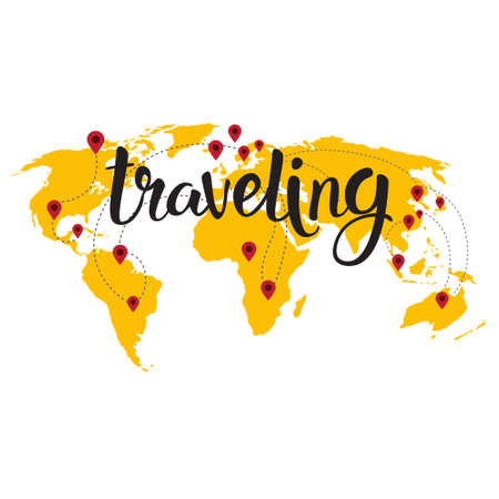 Traveling Lettering Over World Map Background Hand Drawn Tourism Adventure Concept Vector Illustration
