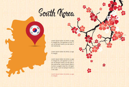 South Korea Map Korean Flag Pointer Beautiful Blossom Of Sakura Branch Decoration Template Banner With Copy Space Vector Illustration Illustration