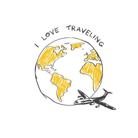 I Love Traveling Sketch Airplane Flying Around World Globe Isolated On White Background Vector Illustration Vettoriali