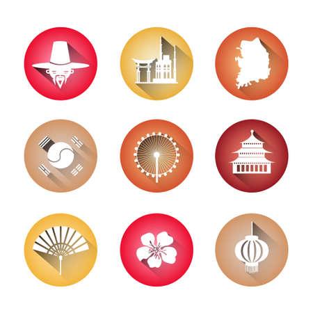 South Korea Symbols Set Of Icons Traditional Clothing Buildings Korean Map Flag Silhouettes Vector Illustration. Illustration