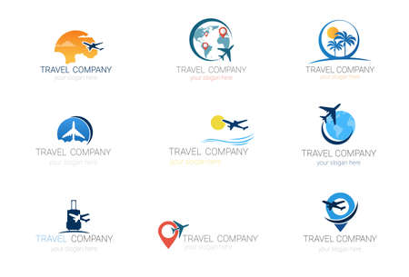 Travel Company Logos Set Template Tourism Agency Collection Of Banner Design Vector Illustration. Stock Illustratie