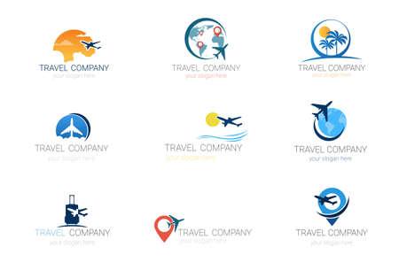 Los logotipos de la compañía de viajes fijaron la colección de la agencia de turismo de la plantilla de ejemplo del vector del diseño de la bandera.