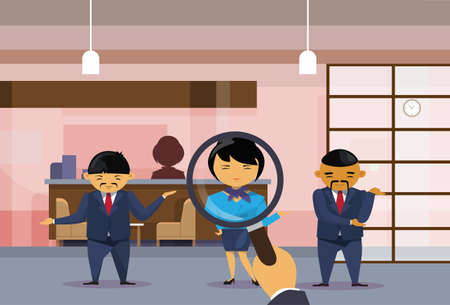 Recruitment Hand Hold Magnifying Glass Choosing Businesswoman From Group Of Asian Business People Picking Candidate For Vacancy Position, Human Resources Concept Flat Vector Illustration