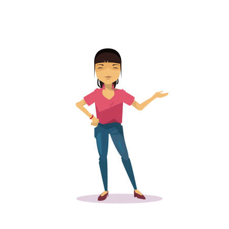 Cartoon Asian Woman Holding Hand Gesture Presenting Or Showing Isolated Over White Background Flat Vector Illustration