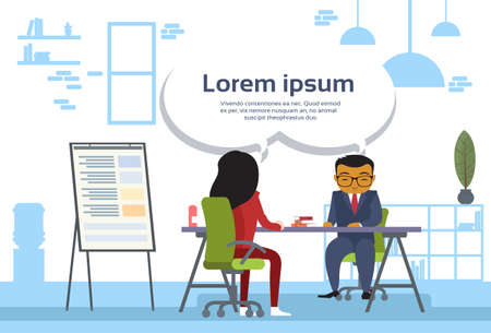 Asian Business Man And Woman Meeting Business People Sitting At Office Desk Sales Report On Board Flat Vector Illustration