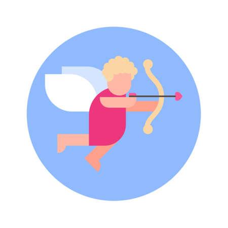 Cupid Cherub Icon On Blue Round Background Isolated Vector Illustration