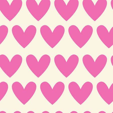 Seamless Pattern Of Pink Hearts On White, Valentines Day Background Vector Illustration Illustration