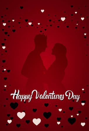 Couple Silhouette Happy Valentine Day Greeting Card Background Flat Vector Illustration