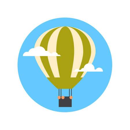 Air Balloon Icon Isolated Summer Vacation Adventure Concept Flat Vector Illustration.