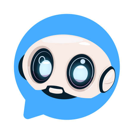 Chatter Bot Cute Robot Icon In Speech Bubble Icon Concept Of Chatbot Or Chat BotTechnology Flat Vector Illustration.