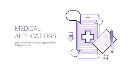 Medical Application Mobile Doctor Consultation Technology Concept Banner With Copy Space Thin Line Vector Illustration