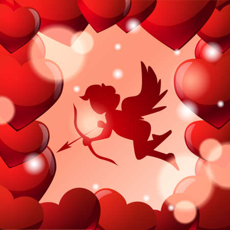 Cute Cupid Silhouette In Frame Of Red Heart Shapes Over Glowing Background Vector Illustration