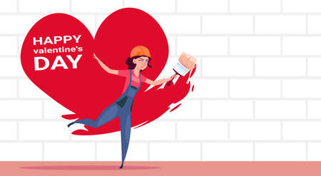 Cute Girl Painter Paint Red Heart Shape On White Brick Wall Happy Valentines Day Decoration Concept Flat Vector Illustration Ilustração