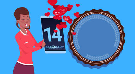 African American Girl Hold Digital Tablet Sending Happy Valentines Day Congradulations Over Blue Background Flat Vector Illustration Illustration