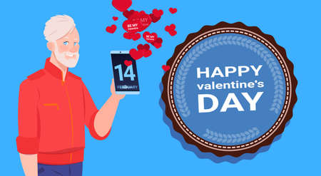 Senior Man Use Smart Phone Sending Happy Valentines Day Congradulations Over Blue Background Flat Vector Illustration