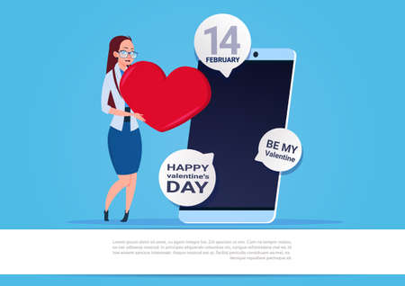 Woman Use mobile Phone Sending Happy Valentines Day greeting Illustration