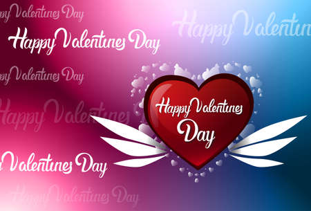 Happy Valentines Day Colorful Blur Background With Lettering, Greeting Card With Red Heart Vector Illustration