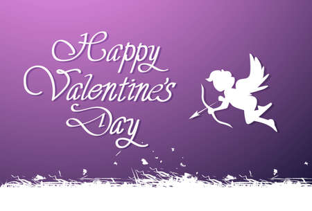Happy Valentines Day Lettering Cute Greeting Card For Love Holiday With Silhouette Cupid Vector Illustration