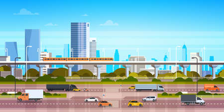 Cityscape background modern city panorama With highway road and subway over skyscrapers. Flat vector illustration. Stock Illustratie