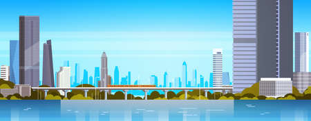 Modern City Panorama With Skyscrapers And Subway Urban Background Flat Vector Illustration