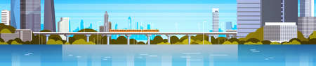 Modern City Panorama With High Skyscrapers And Subway Cityscape Background Horizontal Banner Flat Vector Illustration Illustration