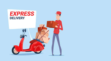 Express Delivery Asian Man Deliver Boxes With Retro Scooter Courier Service Template Banner Flat Vector Illustration