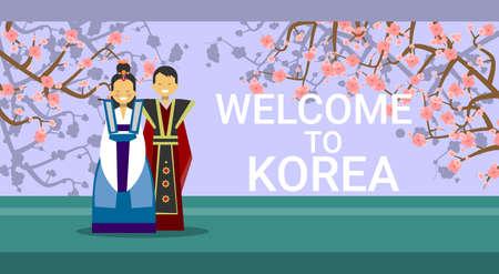 Travel To South Korea Banner, Happy Korean Coupe Wearing Raditional Costumes Over Sakura Tree Blossom Flat Vector Illustration