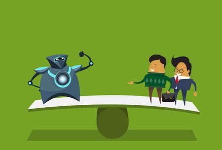 Human Vs Robots Modern Robotic And Business Men Over Green Background Artificial Intelligence Concept Flat Vector Illustration