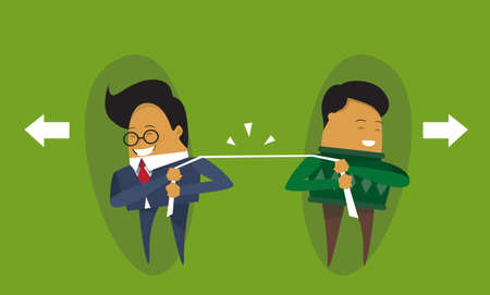 Two Businessmen Pulling Rope Business Competition Concept Flat Vector Illustration Illustration