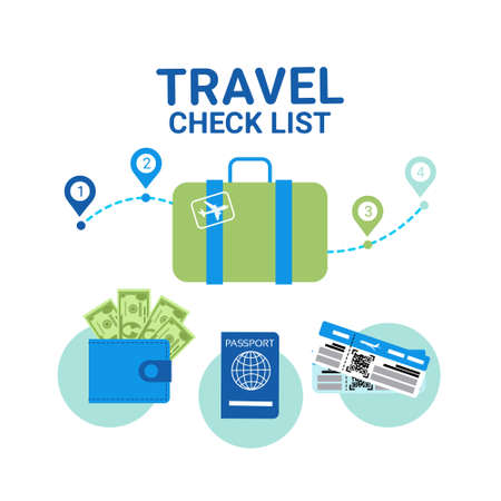 Travel Check List Icons Template Banner Vacancy Planning Concept Flat Vector Illustration.