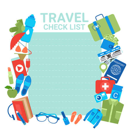 Travel Check List Template Background For Checklist For Packing, Planning Of Vacation Suitcase With Items Flat Vector Illustration. Vectores