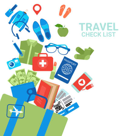 Travel Check List Background Luggage Icons On White Baggage Planning Concept Flat Vector Illustration