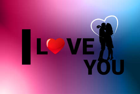 Silhouette couple kissing over Valentines day background I love you banner vector illustration. Illustration