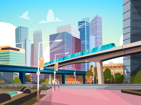 Modern City Panorama With High Skyscrapers And Subway Cityscape Background Flat Vector Illustration