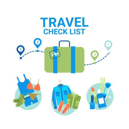 Travel Planning Baggage Check List Icons Template Banner Vacancy Tour Concept Flat Vector Illustration