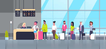 Check In Airport Group Of Mix Race Passengers Standing In Queue To Counter, Departures Board Concept Flat Vector Illustration