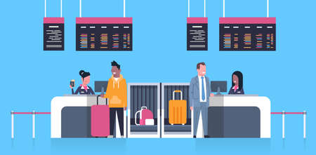 Check In Airport With Stuff Workers On Counter And Male Passengers With Luggage, Departures Board Concept Flat Vector Illustration Vettoriali