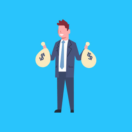 Business Man Holding Bags With Money Stock Illustratie