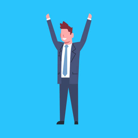 Business Man Cheerful Hold Raised Hands Office Worker Character Businessman Isolated Flat Vector Illustration