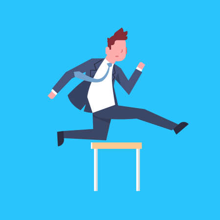 Business Man Jumping Over Obstacle Successful Office Worker Character Businessman Corporate Isolated Flat Vector Illustration