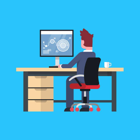 Business Man Sit At Office Desk Working At Computer Male Businessman Back Rear View Flat Vector Illustration