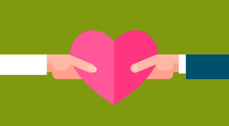 Man And Woman Holding Pink Heart Shape Over Green Background Valentines Day Concept Flat Vector Illustration