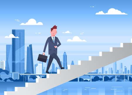 Businessman Walking Stairs Up Over Modern City Background, Career Development Concept Flat Illustration Illustration