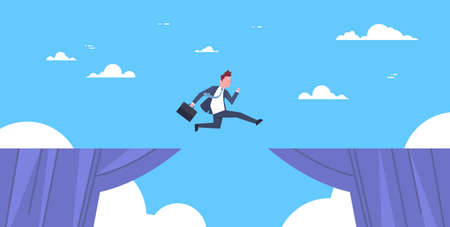 勇敢なビジネスマンは崖、ビジネスリスクと危険の概念図を飛び越えます。