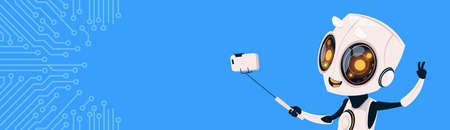 Cute Robot Take Selfie Photo On Smart Phone Over Circuit Background Horizontal Bannner With Copy Space Flat Vector Illustration Illustration