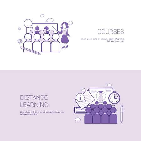 Conjunto de cursos y fondo de la plantilla del concepto del negocio de las banderas del aprendizaje a distancia con el ejemplo del vector del espacio de la copia